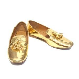 Qupid Metallic Gold Tasseled Loafers